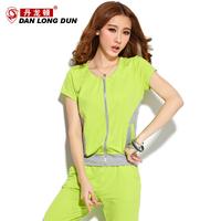 Summer fashion casual zipper cardigan women's type sports sweatshirt set