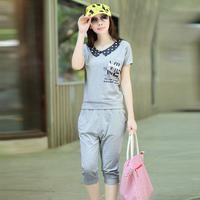 2013 women's summer peter pan collar print short-sleeve fashionable casual set sportswear