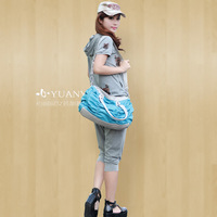 2013 summer short-sleeve sports set Women fashion with a hood plus size casual sportswear set