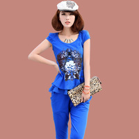 2013 women's summer fashion set o-neck short-sleeve print patchwork chiffon casual set