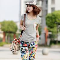 Summer fashion gentlewomen casual set national trend print chiffon patchwork short-sleeve o-neck sports set