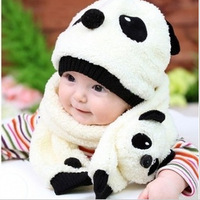 MZ-008 Panda hats scarves piece sets of thick plush warm hat cap wholesale Korean children