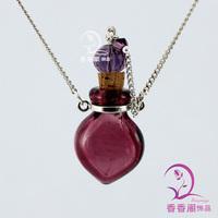 Murano Glass Perfume Necklace Small Heart  Perfume Necklace glass spray perfume bottle aromatherapy diffuser necklace