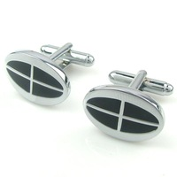Men's Jewelry Shirt Cuff Link Cufflinks Gift Box Silver Tone Black Checked CW209