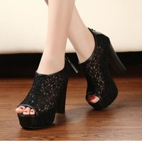 The new fashion sexy lace fish mouth waterproof high single shoes sandals shoes with thick