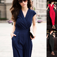 Hot Sale Fashion Pure Color Chiffon Women'S Boutique Unique V-Neck Short Sleeve Double Pocket Elastic Waist Jumpsuits Wf-4254