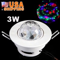 US Stock To USA CA 3W Full Color RGB LED Voice-activated Rotating Ceiling Stage Light DJ Disco Moving Party Stage Lighting Lamp