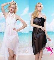 hot sale Summer Beach pareo Sheer Chiffon Sarong Beach Cover Up Bikini Wrap White Black bathing suit cover ups saida de praia
