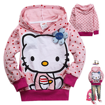 2013 autumn children's clothing hello kityy sweatshirt female child cap 100% long-sleeve pullover cotton hoodie