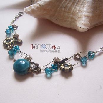 free shipping Accessories new arrival bohemia handmade silk multi-layer bracelet ceramic girls jewelry
