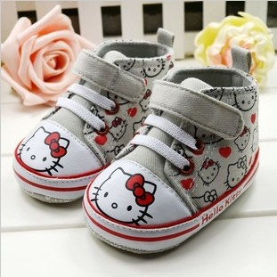 Free Shipping Hello Kitty and Red Heart Design Unisex Toddlers' Canvas Shoes 3pairs/Lot Non-Slip Infants Footwear