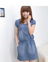 Women  Casual Fashion Vintage Style U-neck Short Sleeve Button Jean  Dress Blue Plus Size Denim Dresses