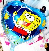 M3 Heart shaped 18'' Sponge Bob big foil birthday party balloons,free shipping, 10pcs/lot