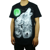 free shipping 2014 New Arrival Hot Sell men's top t-shirts and men tshirts pure colour cotton Night wolf big size 3XL 4XL