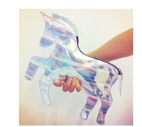 Cute Hologram Laser  Unicorn Handbag Multicolor Little Horse Shape Handbag Message Bag Free Shipping