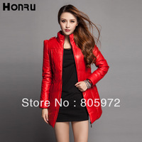Free Shipping 2013 Autumn Winter Pu Brand Strips Zipper Ladies' Motorcycle Jackets Women' Faux Leather Long Coats12142435