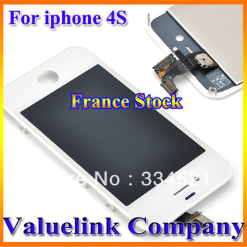 France Stock For iPhone 4S Replacement White Glass Digitizer & LCD Touch Screen Assembly White 5PCS Dropship New Arrive