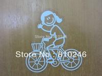 Custom printed custom clear PVC sticker Girl Riding Bike