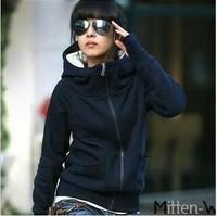 Hot  selling Fashion Ladies Spring High Neck turtleneck hooded fleece set sweatshirt hoodie outerwear (Thin type)