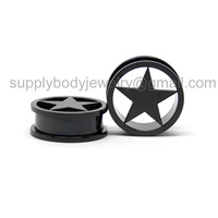Pair 26mm Flesh black Steel Screw Lone Star Ear Plugs Tunnels