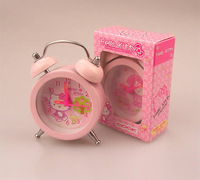 Promotion Free shipping, Hello Kitty Mini alarm clock plastic alarm clock Cute small table clock Cartoon design quartz clock