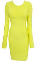 free shipping sexy yellow full sleeve sheath party evening dress