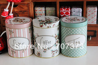 zakka  Vintage small flower iron leather box storage box tea  sugar caddy coffee cans sucrier hot-selling for 3 price