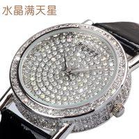 Women's Quartz watch fashion lady Dress wristwatch full rhinestone CZ Luxury Gift leather Top Hours Bling water Resistant