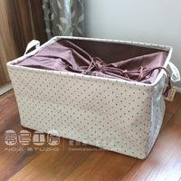 Zakka storage box polka dot coffee beam clothes miscellaneously quilt toy finishing box js 3 size for u choose