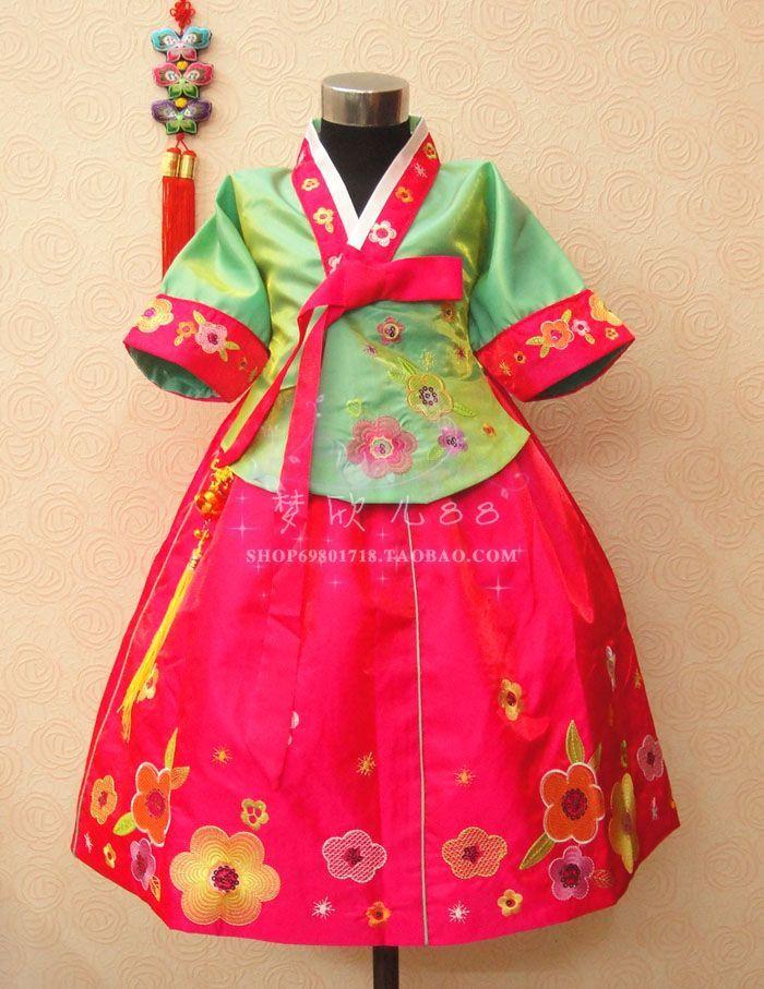 Rabbit child hanbok princess dress traditional national clothing child formal dress(China (Mainland))