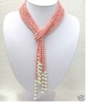 Pink coral beads white pearl necklace/Halskette