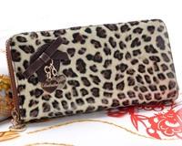 2013 women's fashion wallet single zipper leopard print coffee japanned leather long design Women wallet