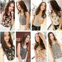 2014 New Summer Fashion Women Girl plus size Chiffon Vest Basic Shirt Vest Tanks Camis Blouse Shirt Tops (Size Free / S-XXXL)