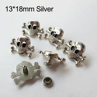 100pcs 13*18mm skull rivets silver color