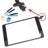 Free Shipping For iPad Mini Touch Digitizer Glass Screen Assembly With IC and Home button + Free Tools Black Color