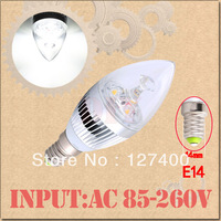 3W 3x1W Pure White E14 Home Candle Bulb LED Light Lamp 85-265V 110V 220V 230V