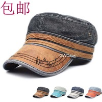 mix order retail free shipping - Color all-match denim cadet military cap hat male women's summer hat the trend of the cap