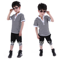 Free Shipping Unisex Kids Striped Shirts Tops+Pants Clothing Sets Summer Clothes 2PCS 1-6Years DropShipping XL080