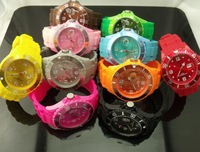 10pcs/lot Silicone Candy Watch unisex men women watch Calendar 13colors date silicone strap 38mm 43mm Dropship