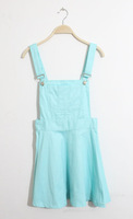 Preppy style sweet multicolour a-line pleated skirt high waist one-piece water wash denim braces skirt
