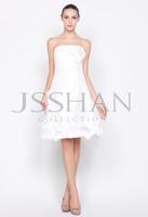 11C012 Strapless A-Line Flowered Short Taffeta Elegant Gorgeous Luxury Unique Party Cocktail Dress