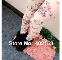 Fashion Women Sexy Slim Cotton Trousers Rose Floral Print Ladies Leggings Pants New Wholesale Free Shipping