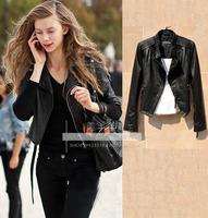 2013 sheepskin Women slim short design genuine leather motorcycle clothing