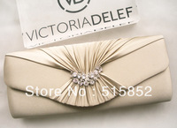 Aesthetic women's pleated bridal bag bridesmaid package evening bag day clutch chains bag 27x5x12cm free shipping w158