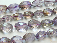 Free Shipping Top Quality Clear Crystal Beads Ametrine Faceted  Freeform 5*10mm Miracle Charms Beads Purple