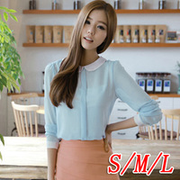 2013 womens long-sleeve back button women shirt top peter pan collar gentlewomen 6062 elegant chiffon shirt blouses