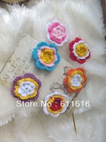 Free shoppingDIY Mixed Colour Handmade cotton crochet/ knitting flower/ DIY Baby Headband Flower