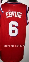 Free Shipping!!! #6 Julius Erving retro throwback jersey , Embroidered Logo ( all name number stitched!!)