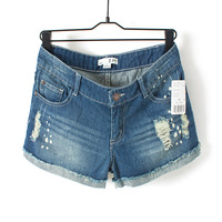 free shipping 2013 summer distrressed roll-up hem plus size denim shorts female loose water wash shorts
