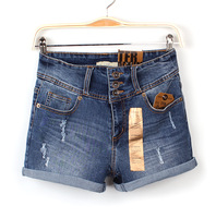 free shipping Vintage 2013 high waist buttons denim shorts women's elastic roll up hem denim shorts plus size